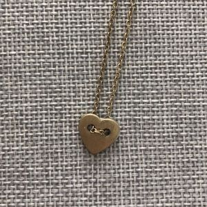 Gold Heart Button Necklace
